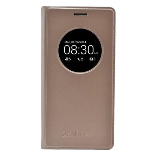 Microsonic View Slim Kapaklı Deri Asus Zenfone 6 Kılıf Akıllı Modlu Altın Sarısı