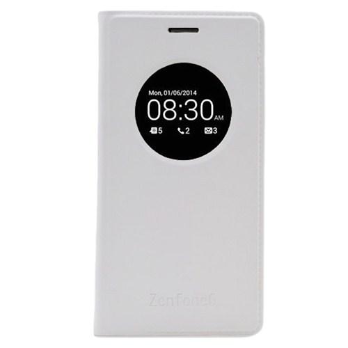 Microsonic View Slim Kapaklı Deri Asus Zenfone 6 Kılıf Akıllı Modlu Beyaz