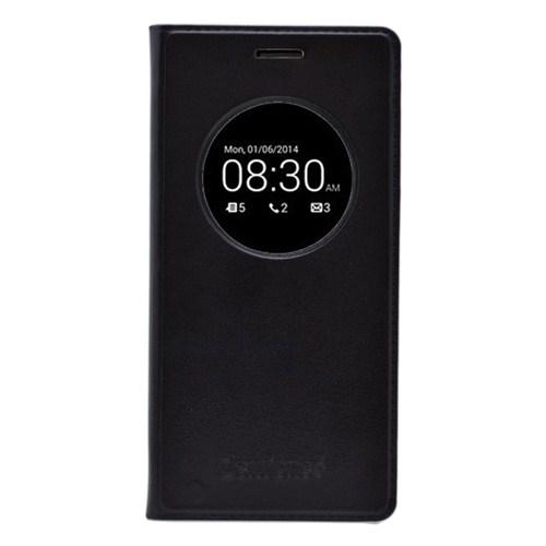 Microsonic View Slim Kapaklı Deri Asus Zenfone 6 Kılıf Akıllı Modlu Siyah