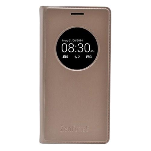Microsonic View Slim Kapaklı Deri Asus Zenfone 5 Kılıf Akıllı Modlu Altın Sarısı
