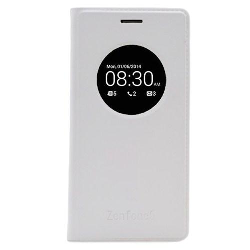 Microsonic View Slim Kapaklı Deri Asus Zenfone 5 Kılıf Akıllı Modlu Beyaz