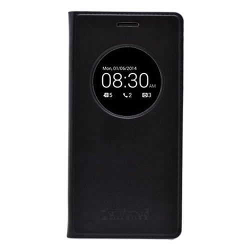 Microsonic View Slim Kapaklı Deri Asus Zenfone 5 Kılıf Akıllı Modlu Siyah