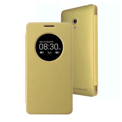 Microsonic View Cover Delux Kapaklı Asus Zenfone 5 Kılıf Akıllı Modlu Sarı