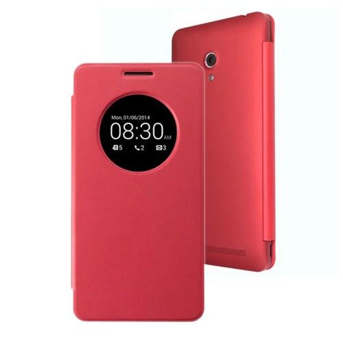 Microsonic View Cover Delux Kapaklı Asus Zenfone 6 Kılıf Akıllı Modlu Kırmızı