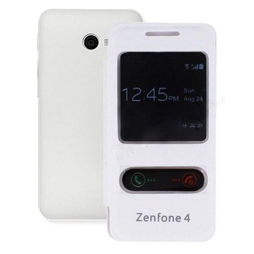 Microsonic Dual View Delux Kapaklı Asus Zenfone 4 Kılıf Beyaz