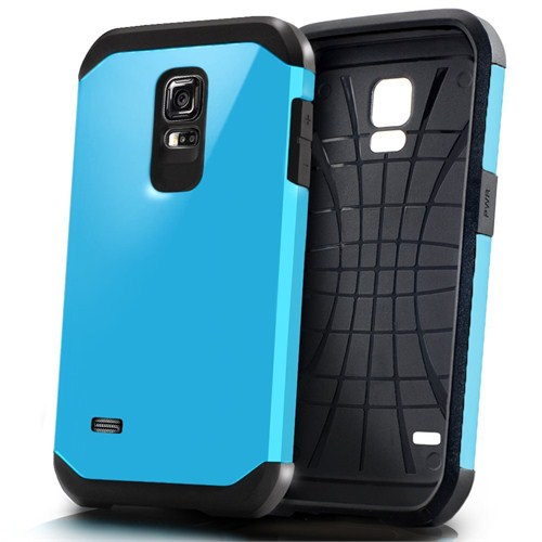 Microsonic Slim Fit Dual Layer Armor Samsung Galaxy S5 Mini Kılıf Mavi