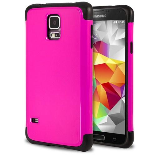 Microsonic Slim Fit Dual Layer Armor Samsung Galaxy S5 Kılıf Pembe