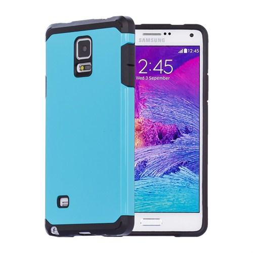Microsonic Slim Fit Dual Layer Armor Samsung Galaxy Note 4 Kılıf Mavi