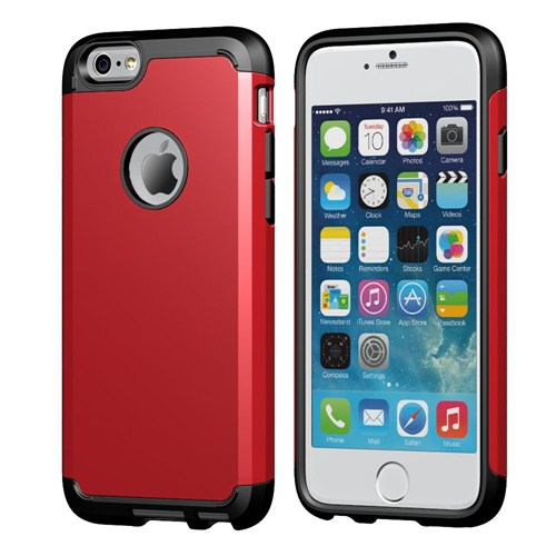Microsonic Slim Fit Dual Layer Armor İphone 6 Plus (5.5) Kılıf Kırmızı