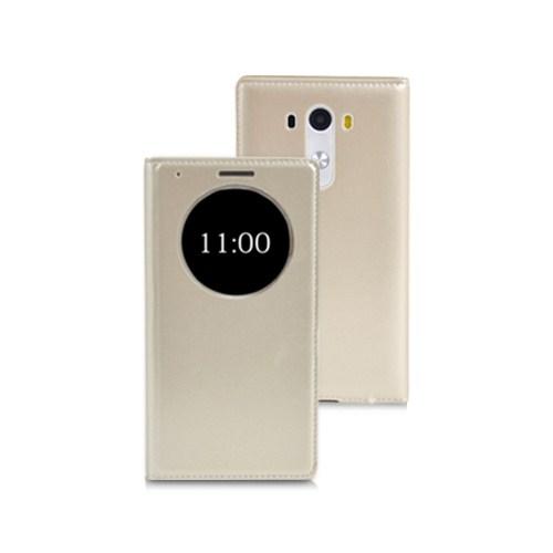 Microsonic View Slim Kapaklı Deri Lg G3 Mini (G3 S, G3 Beat) Kılıf Akıllı Modlu Altın Sarı
