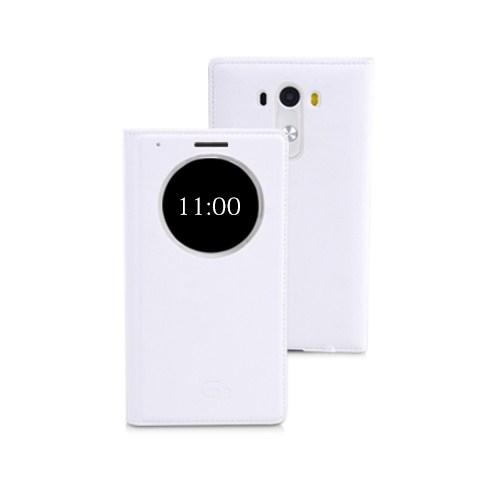 Microsonic View Slim Kapaklı Deri Lg G3 Kılıf Akıllı Modlu Beyaz