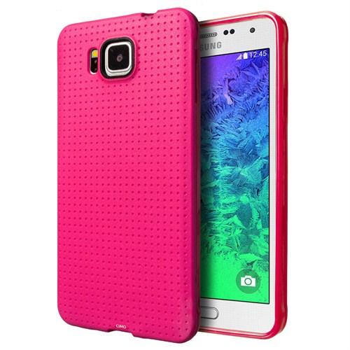 Microsonic Dot Style Silikon Samsung Galaxy Alpha Kılıf Pembe