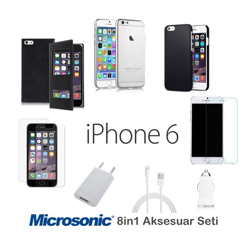 Microsonic İphone 6 (4.7'') Kılıf & Aksesuar Seti 8İn1