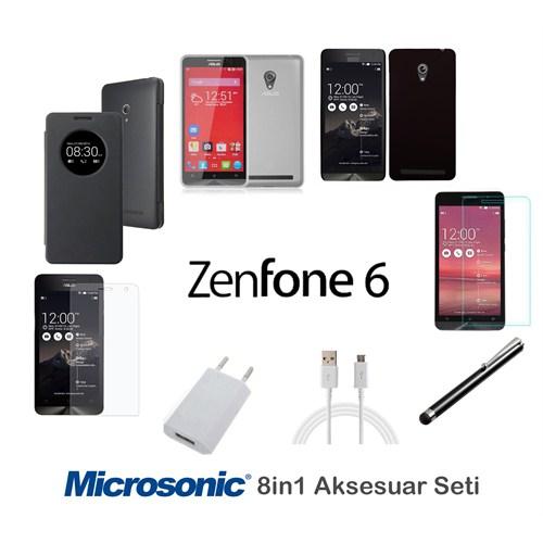 Microsonic Asus Zenfone 6 Kılıf & Aksesuar Seti 8İn1