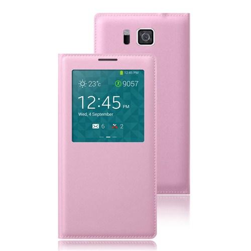 Microsonic View Slim Kapaklı Deri Samsung Galaxy Alpha Kılıf Akıllı Modlu Pembe