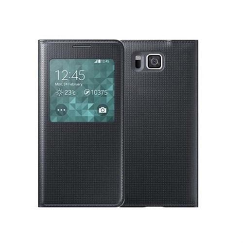 Microsonic View Cover Delux Kapaklı Samsung Galaxy Alpha Kılıf Akıllı Modlu Siyah