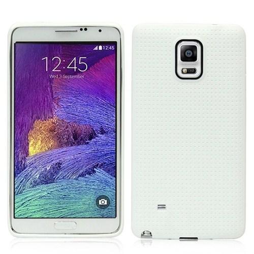 Microsonic Dot Style Silikon Samsung Galaxy Note 4 Kılıf Beyaz