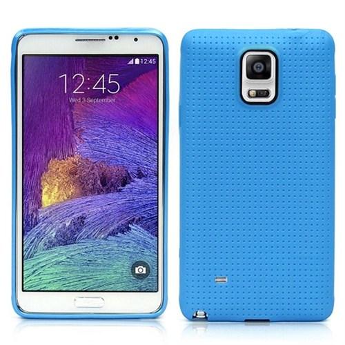 Microsonic Dot Style Silikon Samsung Galaxy Note 4 Kılıf Mavi