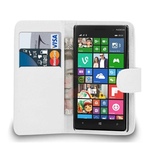 Microsonic Cüzdanlı Deri Nokia Lumia 830 Kılıf Beyaz