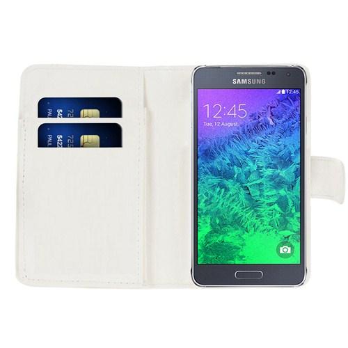 Microsonic Cüzdanlı Deri Samsung Galaxy Alpha Kılıf Beyaz
