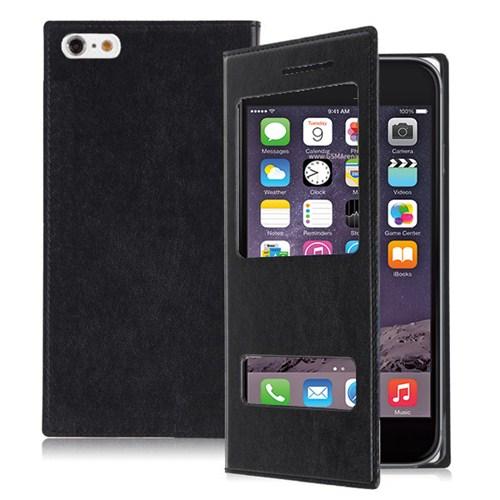 Microsonic Dual View Delux Kapaklı İphone 6 4.7'' Kılıf Siyah