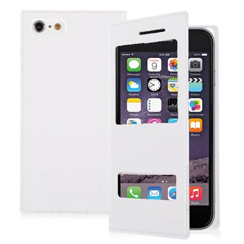 Microsonic Dual View Delux Kapaklı İphone 6 4.7'' Kılıf Beyaz
