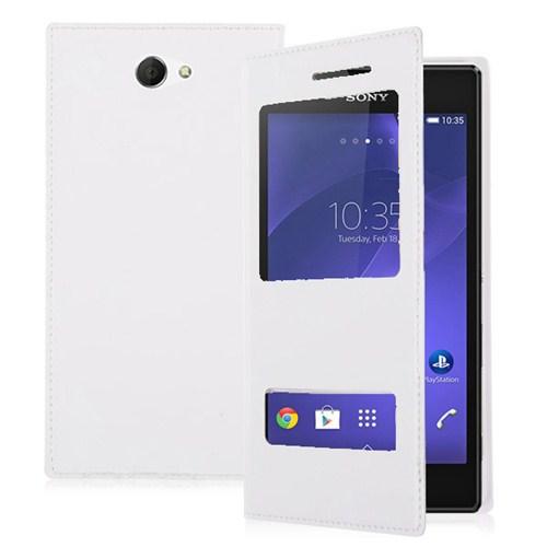 Microsonic Dual View Delux Kapaklı Sony Xperia M2 Kılıf Beyaz