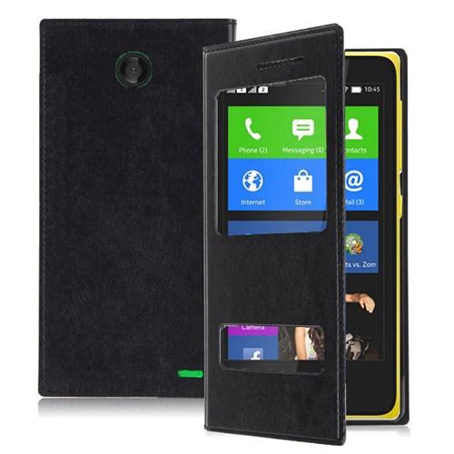 Microsonic Dual View Delux Kapaklı Nokia X Kılıf Siyah