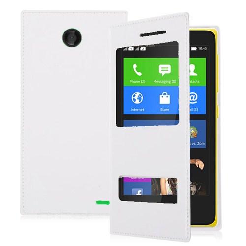 Microsonic Dual View Delux Kapaklı Nokia X Kılıf Beyaz
