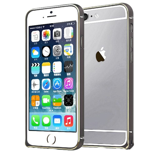 Microsonic İphone 6 (4.7'') Ultra Thin Metal Bumper Kılıf Black & Gold