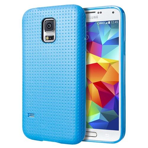 Microsonic Dot Style Silikon Samsung Galaxy S5 Kılıf Mavi