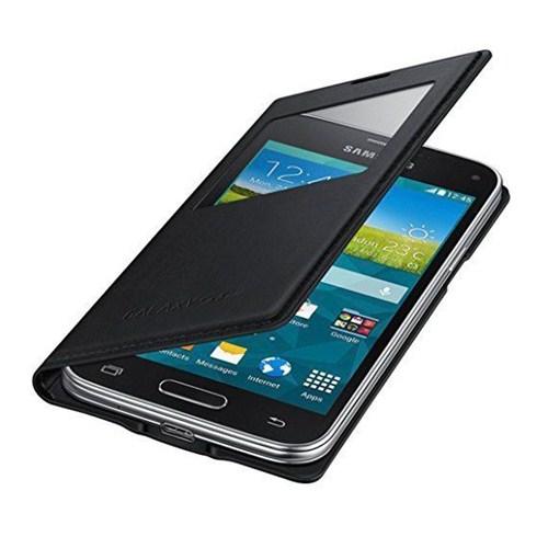 Microsonic View Cover Delux Kapaklı Samsung Galaxy S5 Mini Kılıf Akıllı Modlu Siyah