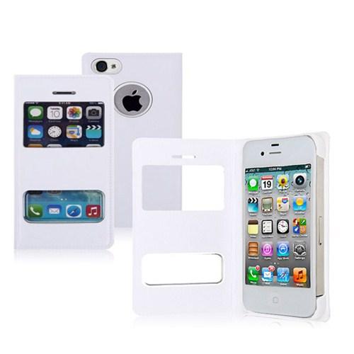 Microsonic Dual View Cover Delux Kapaklı İphone 4S Kılıf Beyaz