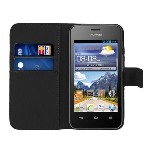 Microsonic Cüzdanlı Deri Huawei Ascend Y320 Kılıf Siyah