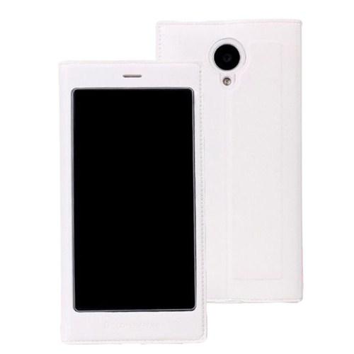 Microsonic Full View Delux Kapaklı Kılıf General Mobile Discovery Elite Beyaz