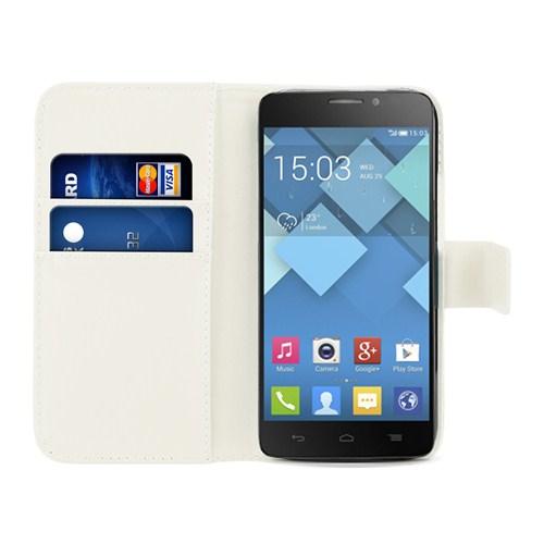 Microsonic Cüzdanlı Deri Alcatel One Touch İdol X Kılıf Beyaz