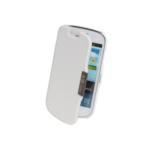 Microsonic Mıknatıslı Ultra Thin Kapaklı Samsung Galaxy S3 Mini Kılıf Beyaz