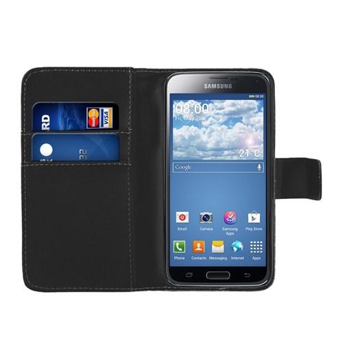 Microsonic Cüzdanlı Deri Samsung Galaxy S5 Mini Kılıf Siyah