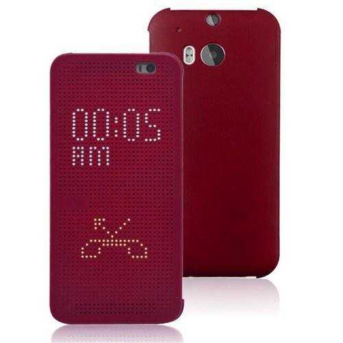 Microsonic View Cover Dot Delux Kapaklı Htc One M8 Kılıf Akıllı Modlu Kırmızı