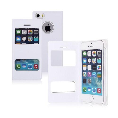 Microsonic Dual View Cover Delux Kapaklı İphone 5S Kılıf Beyaz