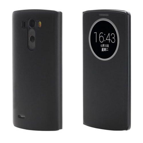 Microsonic View Cover Delux Kapaklı Lg G3 Kılıf Akıllı Uyku Modlu Siyah