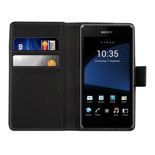 Microsonic Cüzdanlı Deri Sony Xperia Z1 Compact Kılıf Siyah
