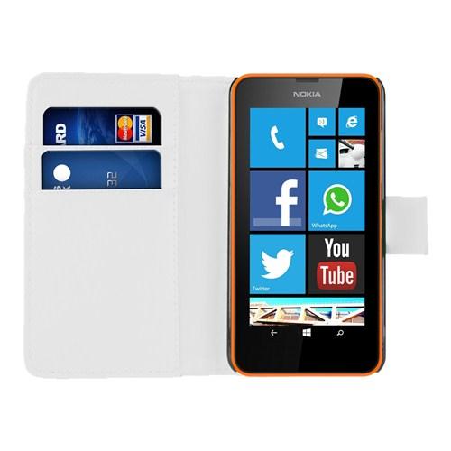 Microsonic Cüzdanlı Deri Nokia Lumia 630 / 635 Kılıf Beyaz