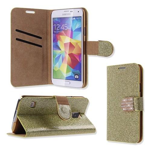 Microsonic Pearl Simli Taşlı Deri Samsung Galaxy S5 Kılıf - Sarı
