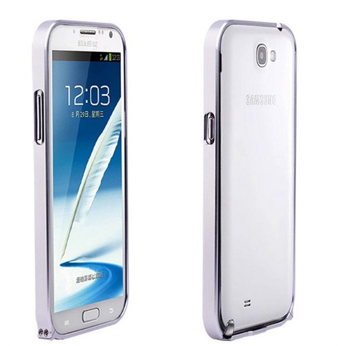 Microsonic Samsung Galaxy Note 2 Ultra Thin Metal Bumper Kılıf Gümüş