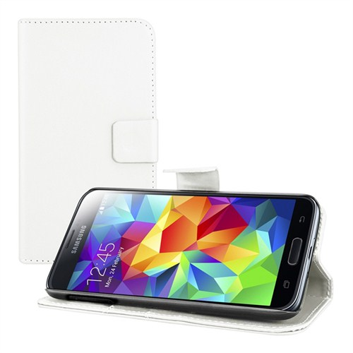 Microsonic Cüzdanlı Standlı Deri Kılıf - Samsung Galaxy S5 Beyaz