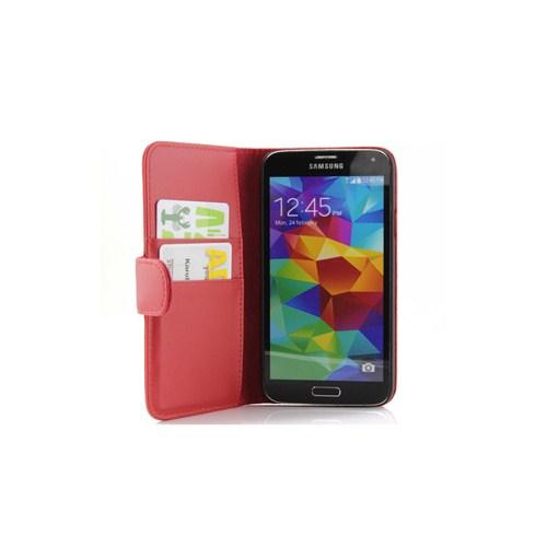 Microsonic Cüzdanlı Deri Kılıf - Samsung Galaxy S5 Kırmızı