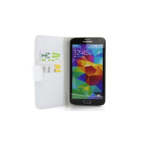 Microsonic Cüzdanlı Deri Kılıf - Samsung Galaxy S5 Beyaz