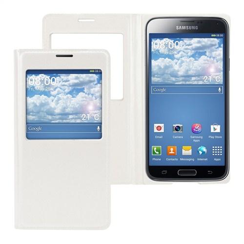 Microsonic View Cover Delux Kapaklı Kılıf Samsung Galaxy S5 Akıllı Modlu Beyaz