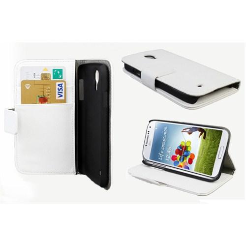 Microsonic Cüzdanlı Standlı Deri Kılıf - Samsung Galaxy S4 İ9500 Beyaz